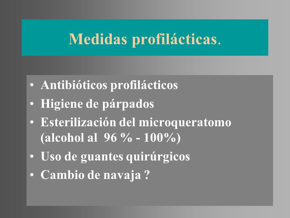 Medidas profilácticas. Antibióticos profilácticos Higiene de párpados Esterilización del microqueratomo (alcohol al 96 % - 100%) Uso de guantes quirúr