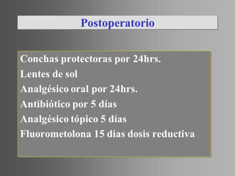 Postoperatorio Conchas protectoras por 24hrs. Lentes de sol Analgésico oral por 24hrs. Antibiótico por 5 días Analgésico tópico 5 días Fluorometolona