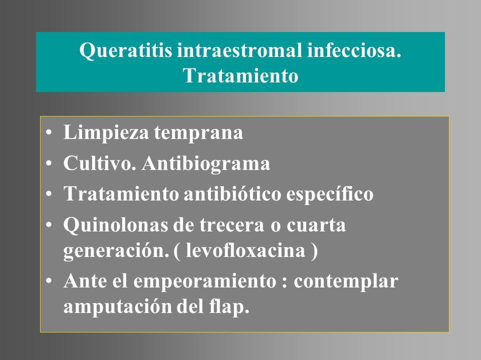 Queratitis intraestromal infecciosa. Tratamiento Limpieza temprana Cultivo. Antibiograma Tratamiento antibiótico específico Quinolonas de trecera o cu
