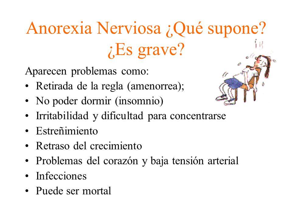 Anorexia Nerviosa ¿Qué supone? ¿Es grave? Aparecen problemas como: Retirada de la regla (amenorrea); No poder dormir (insomnio) Irritabilidad y dificu