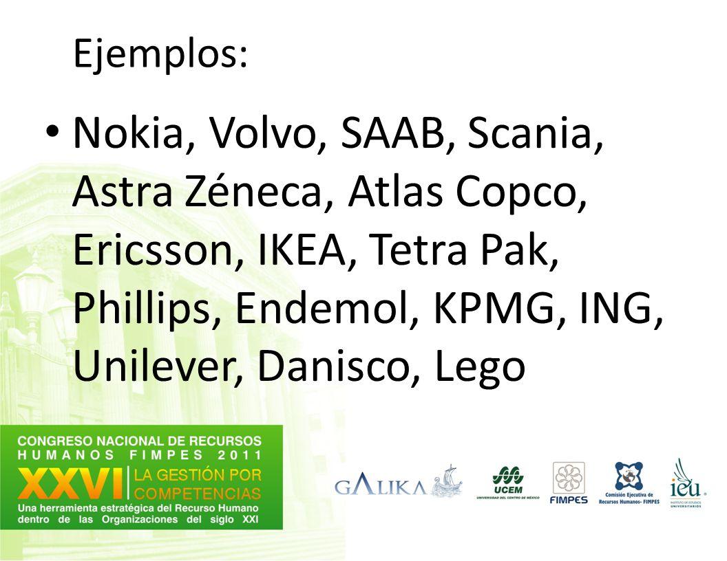 Ejemplos: Nokia, Volvo, SAAB, Scania, Astra Zéneca, Atlas Copco, Ericsson, IKEA, Tetra Pak, Phillips, Endemol, KPMG, ING, Unilever, Danisco, Lego