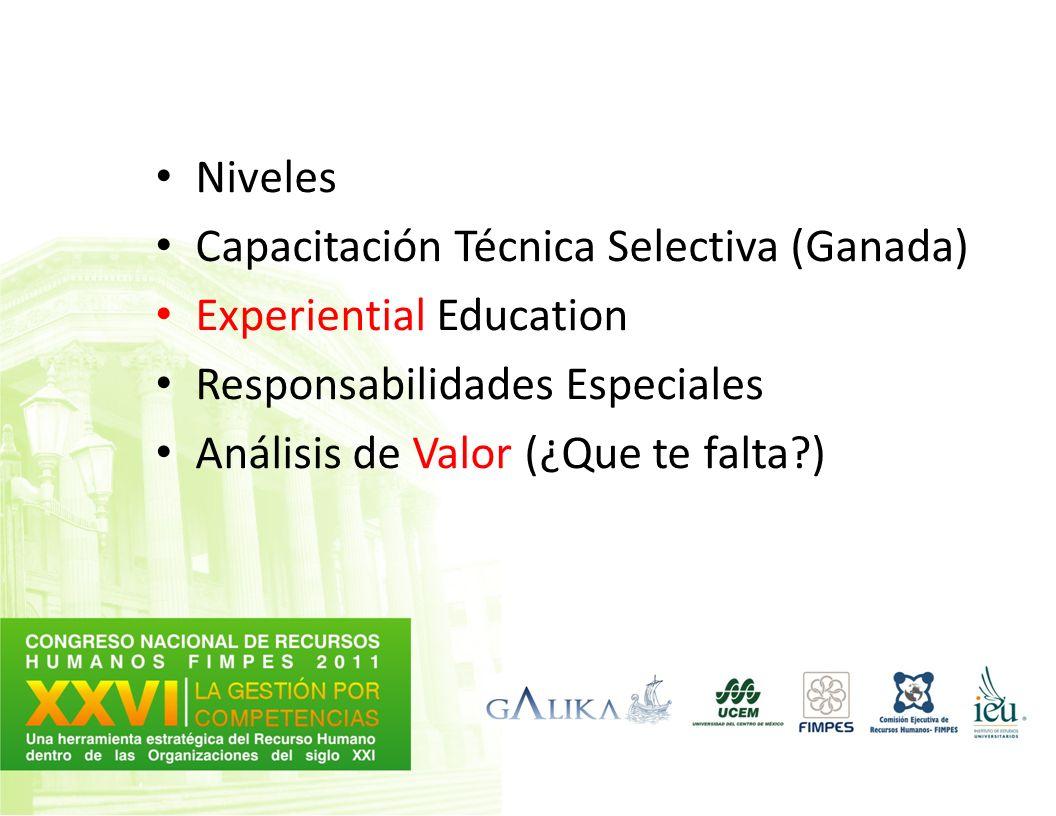 Niveles Capacitación Técnica Selectiva (Ganada) Experiential Education Responsabilidades Especiales Análisis de Valor (¿Que te falta?)