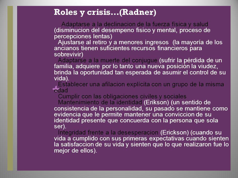 + Roles y crisis…(Radner) Adaptarse a la declinacion de la fuerza física y salud (disminucion del desempeno fisico y mental, proceso de percepciones l