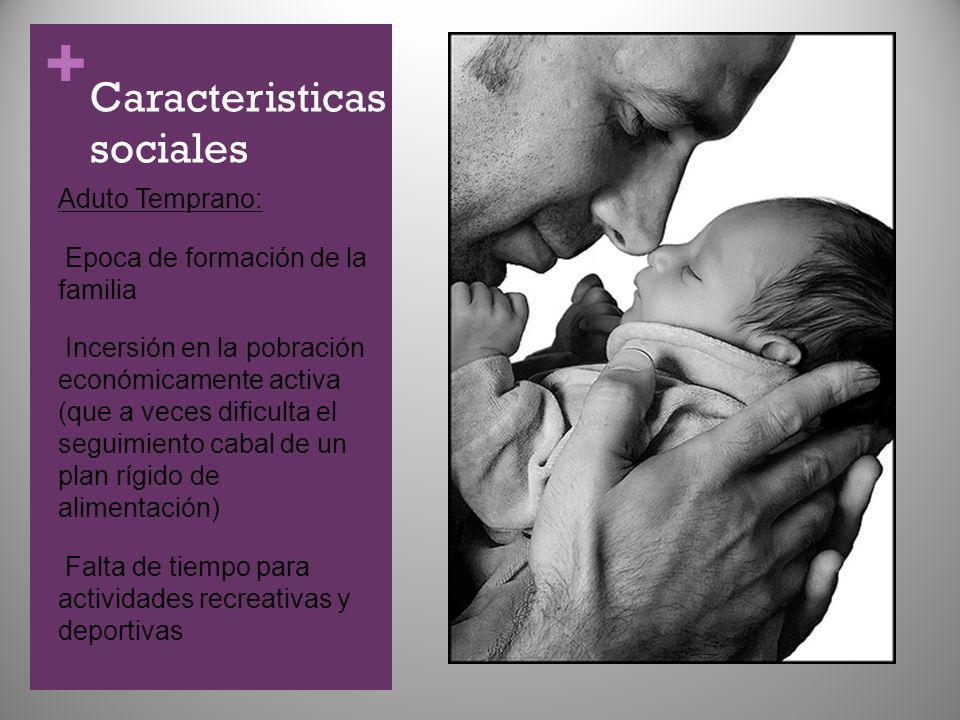 + Caracteristicas sociales Aduto Temprano: Epoca de formación de la familia Incersión en la pobración económicamente activa (que a veces dificulta el