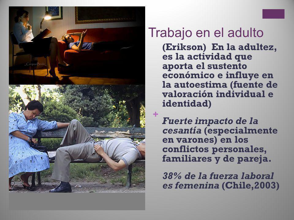 + Trabajo en el adulto (Erikson) En la adultez, es la actividad que aporta el sustento económico e influye en la autoestima (fuente de valoración indi