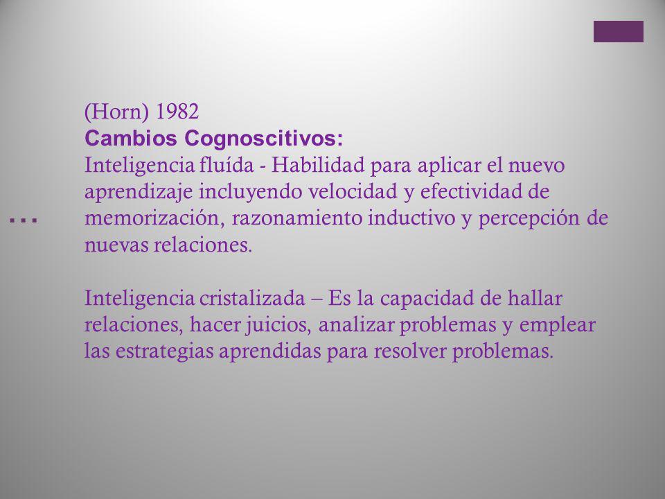 … (Horn) 1982 Cambios Cognoscitivos: Inteligencia fluída - Habilidad para aplicar el nuevo aprendizaje incluyendo velocidad y efectividad de memorizac