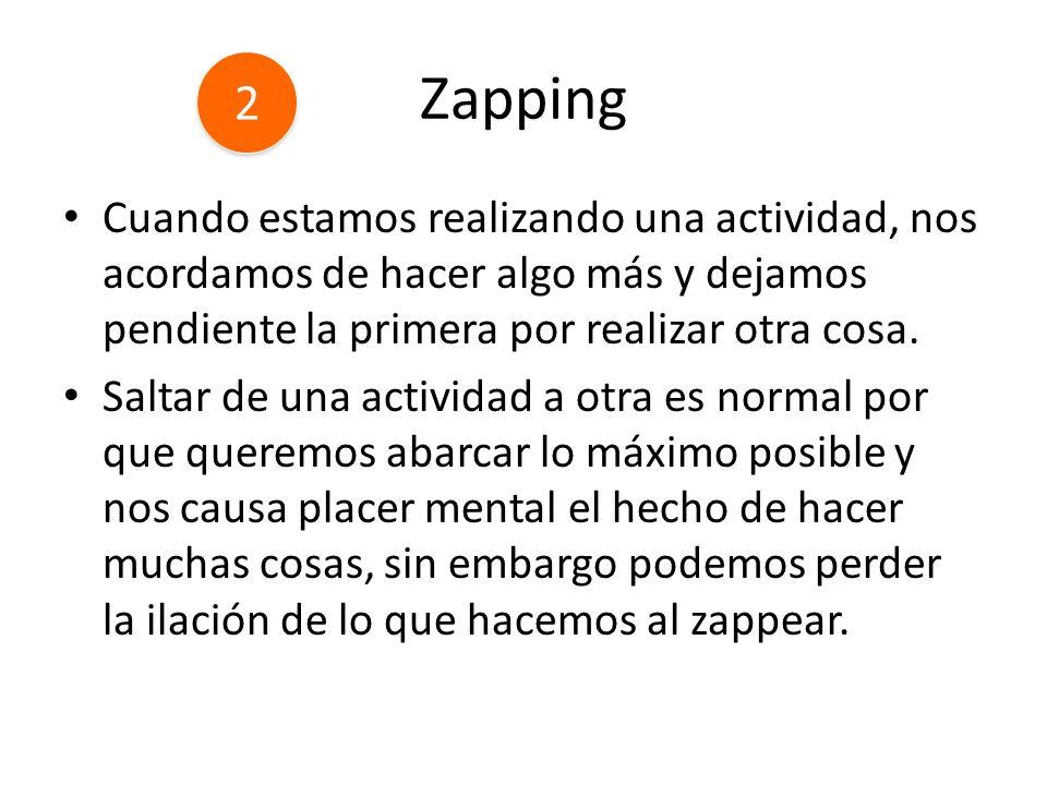 Zapping Cuando estamos realizando una actividad, nos acordamos de hacer algo más y dejamos pendiente la primera por realizar otra cosa. Saltar de una