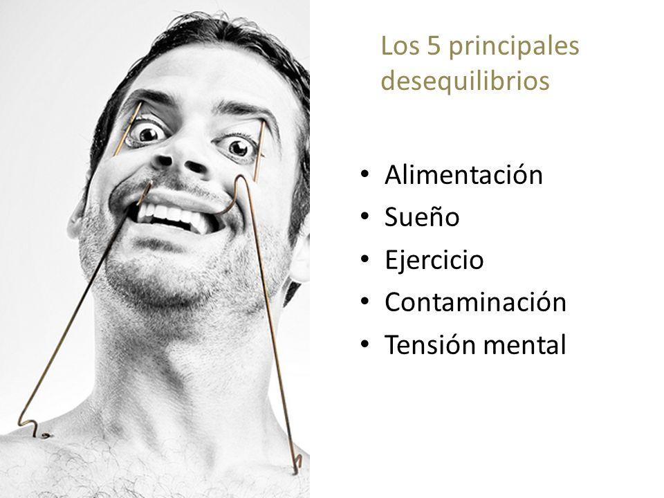 Los 5 principales desequilibrios Alimentación Sueño Ejercicio Contaminación Tensión mental