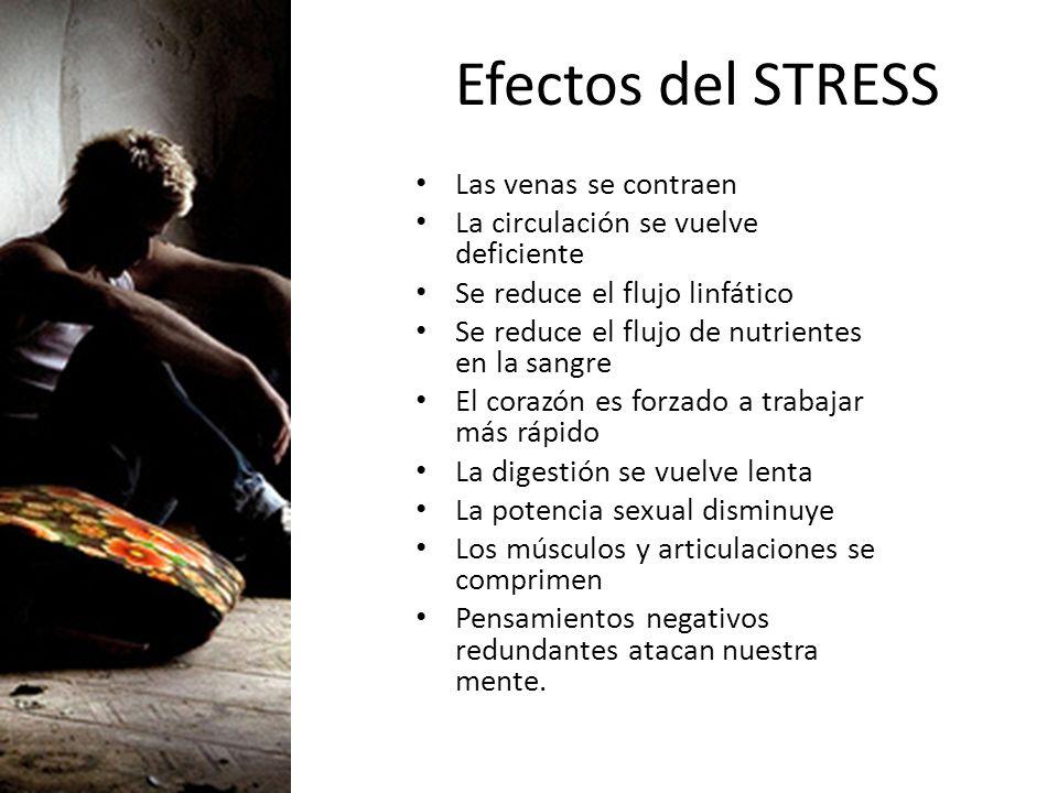 Efectos del STRESS Las venas se contraen La circulación se vuelve deficiente Se reduce el flujo linfático Se reduce el flujo de nutrientes en la sangr