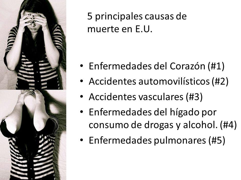 5 principales causas de muerte en E.U. Enfermedades del Corazón (#1) Accidentes automovilísticos (#2) Accidentes vasculares (#3) Enfermedades del híga