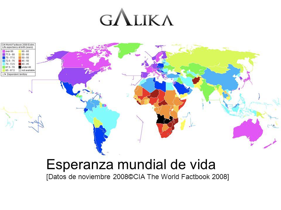 Esperanza mundial de vida [Datos de noviembre 2008©CIA The World Factbook 2008]