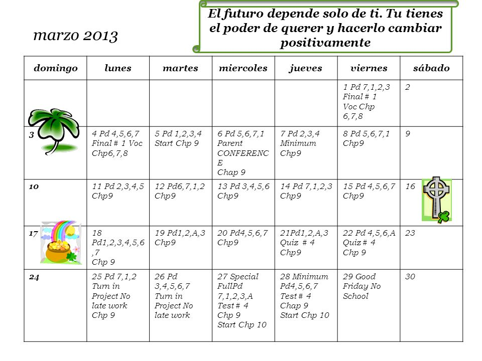 marzo 2013 domingolunesmartesmiercolesjuevesviernessábado 1 Pd 7,1,2,3 Final # 1 Voc Chp 6,7,8 2 3 4 Pd 4,5,6,7 Final # 1 Voc Chp6,7,8 5 Pd 1,2,3,4 St