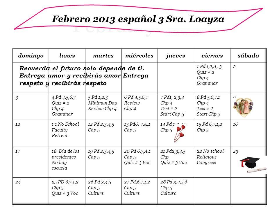 February 2012 Febrero 2013 español 3 Sra. Loayza Recuerda el futuro solo depende de ti.