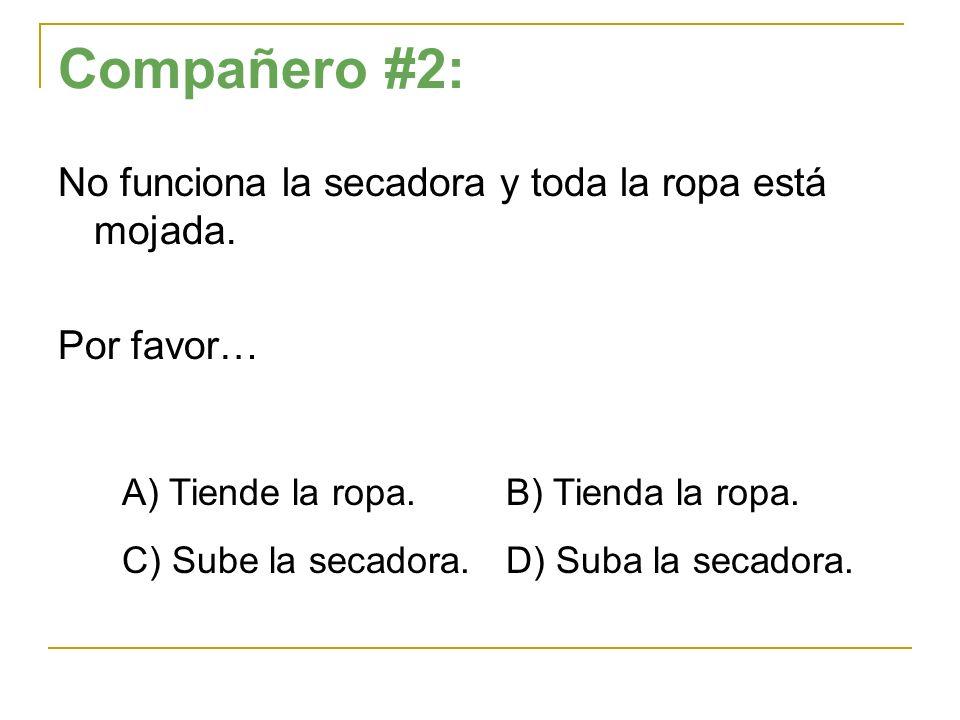 Compañero #2: No funciona la secadora y toda la ropa está mojada. Por favor… A) Tiende la ropa. B) Tienda la ropa. C) Sube la secadora.D) Suba la seca