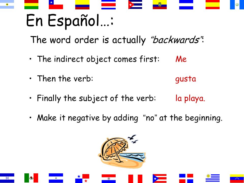 En Español…: The word order is actually backwards : The indirect object comes first:Me Then the verb:gusta Finally the subject of the verb:la playa.