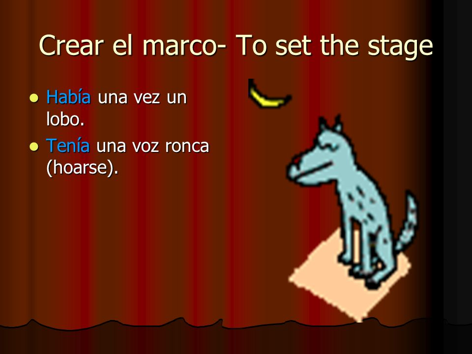 Había una vez un lobo. Había una vez un lobo. Tenía una voz ronca (hoarse). Tenía una voz ronca (hoarse). Crear el marco- To set the stage