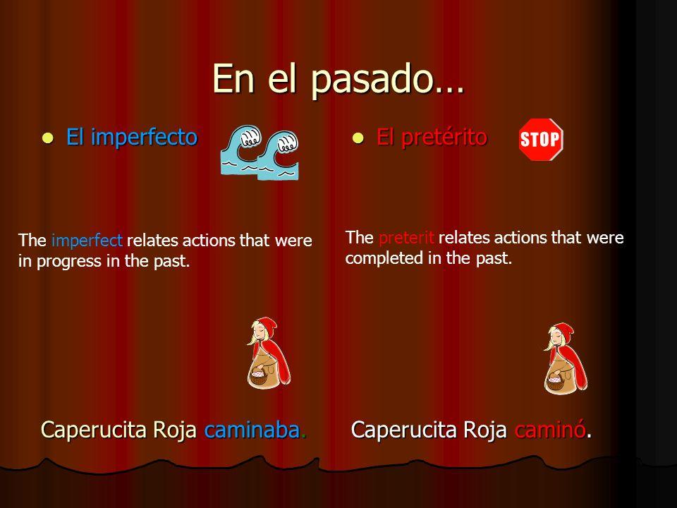 En el pasado… El imperfecto El imperfecto Caperucita Roja caminaba. El pretérito El pretérito Caperucita Roja caminó. The imperfect relates actions th