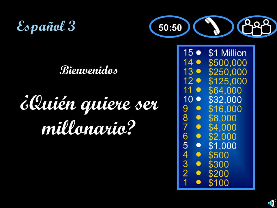 15 14 13 12 11 10 9 8 7 6 5 4 3 2 1 $1 Million $500,000 $250,000 $125,000 $64,000 $32,000 $16,000 $8,000 $4,000 $2,000 $1,000 $500 $300 $200 $100 Bien