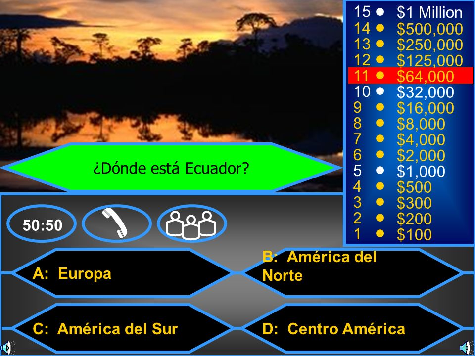 A: Europa C: América del Sur B: América del Norte D: Centro América 50:50 15 14 13 12 11 10 9 8 7 6 5 4 3 2 1 $1 Million $500,000 $250,000 $125,000 $6