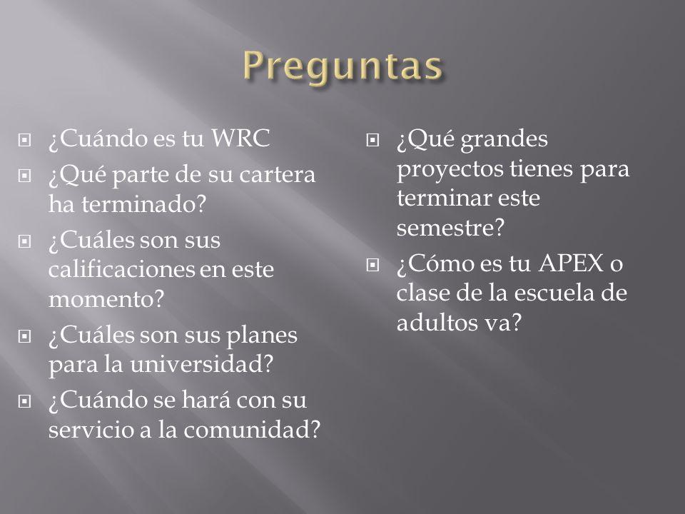 ¿Cuándo es tu WRC ¿Qué parte de su cartera ha terminado? ¿Cuáles son sus calificaciones en este momento? ¿Cuáles son sus planes para la universidad? ¿