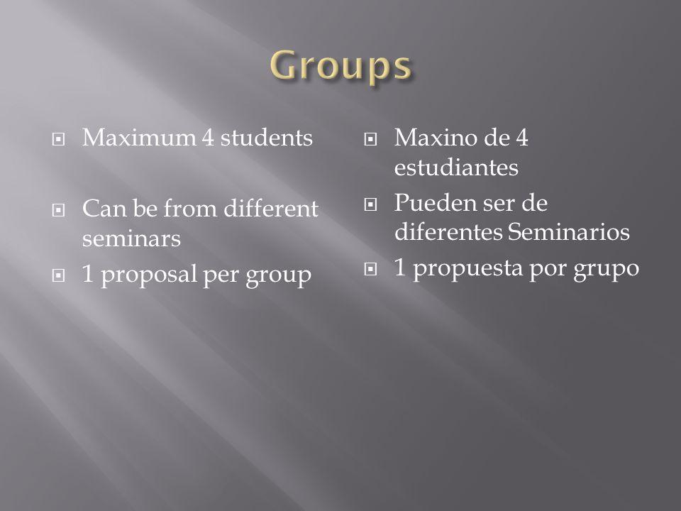 Maximum 4 students Can be from different seminars 1 proposal per group Maxino de 4 estudiantes Pueden ser de diferentes Seminarios 1 propuesta por gru
