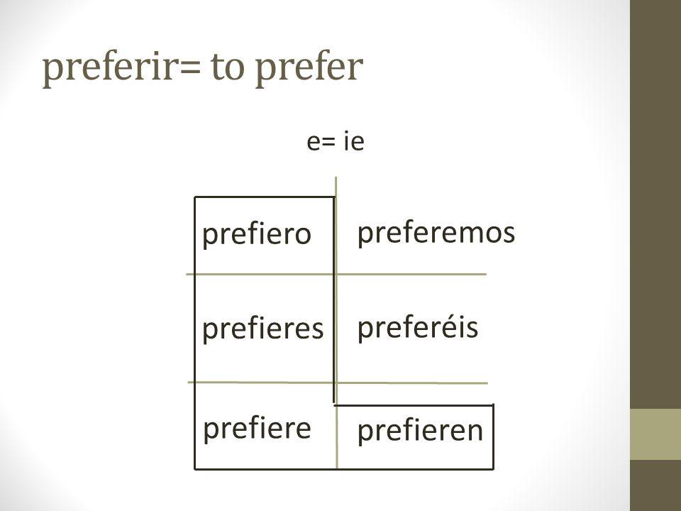 preferir= to prefer e= ie prefiero prefieres prefiere preferemos preferéis prefieren