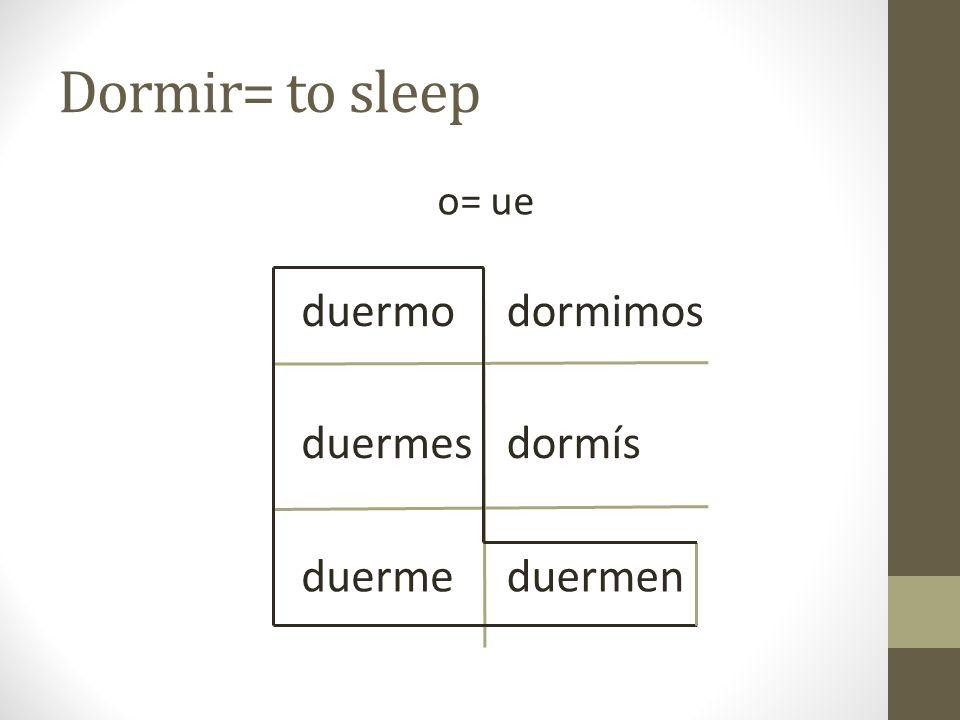 Dormir= to sleep o= ue duermo duermes duerme dormimos dormís duermen