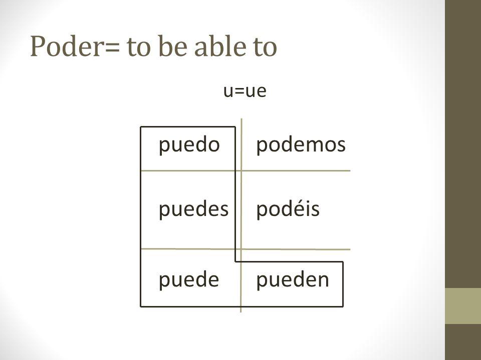 Poder= to be able to u=ue puedo puedes puede podemos podéis pueden
