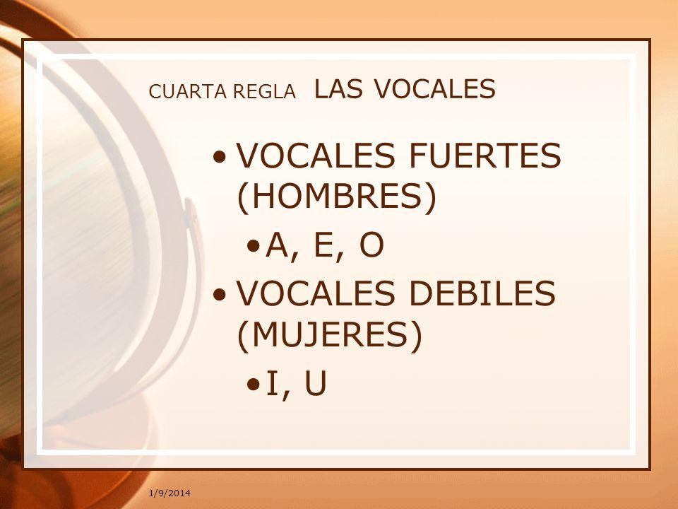 1/9/2014 CUARTA REGLA LAS VOCALES VOCALES FUERTES (HOMBRES) A, E, O VOCALES DEBILES (MUJERES) I, U