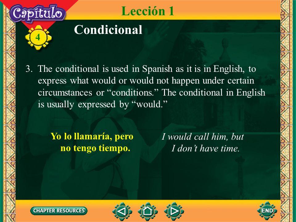 4 Condicional 2. Verbs with an irregular root in the future tense have the same irregular root in the conditional. Lección 1 hacer decir querer haría
