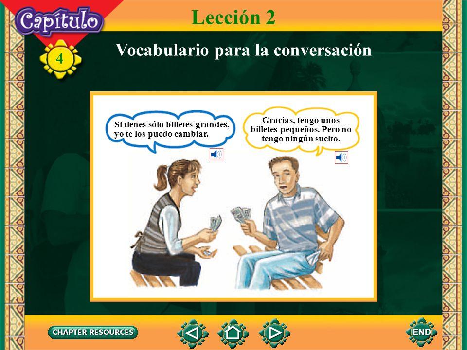 4 el dinero en efectivo Lección 2 Vocabulario para la conversación billetes pequeños billetes grandes suelto monedas