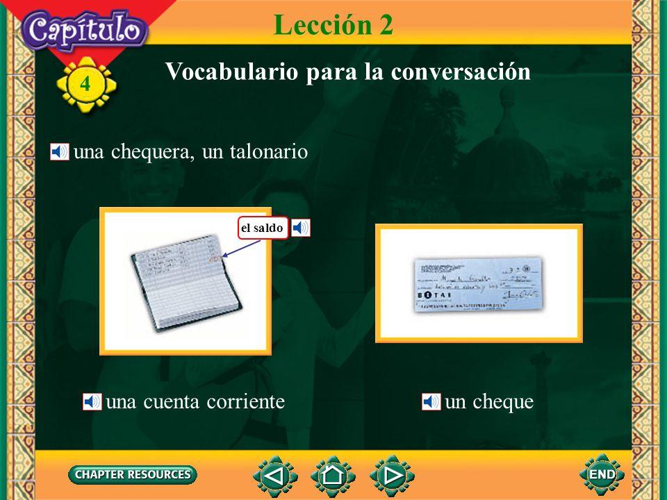 4 Lección 2 Vocabulario para la conversación una casa de cambio ¿Cuál es el tipo de cambio? Hoy el dólar está a 406 colones.