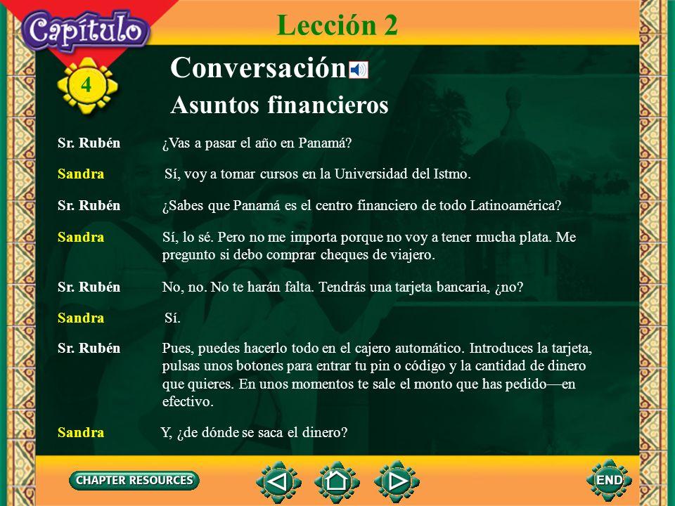 4 Conversación Asuntos financieros Lección 2