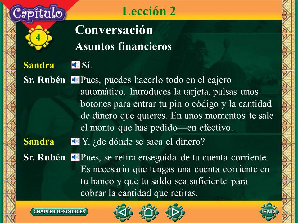 4 Conversación Asuntos financieros Lección 2 Sr. Rubén ¿Vas a pasar el año en Panamá? Sandra Sí, voy a tomar cursos en la Universidad del Istmo. Sr. R