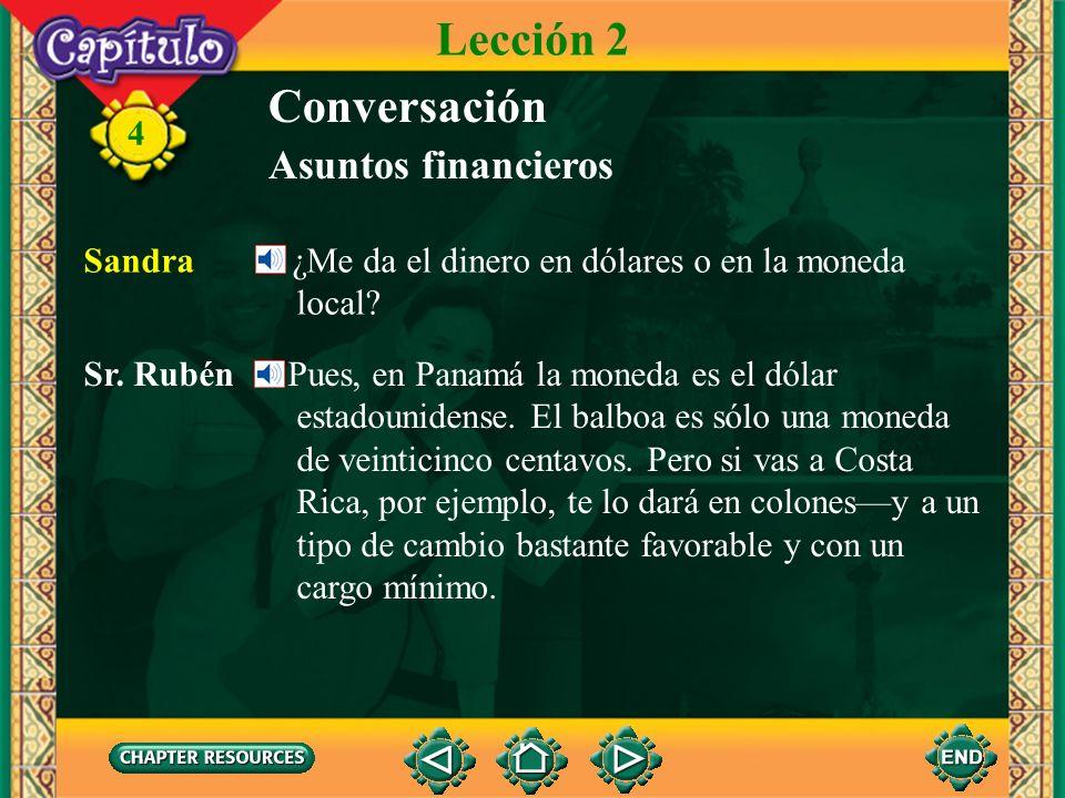 4 Conversación Sandra Sí. Sr. Rubén Pues, puedes hacerlo todo en el cajero automático. Introduces la tarjeta, pulsas unos botones para entrar tu pin o