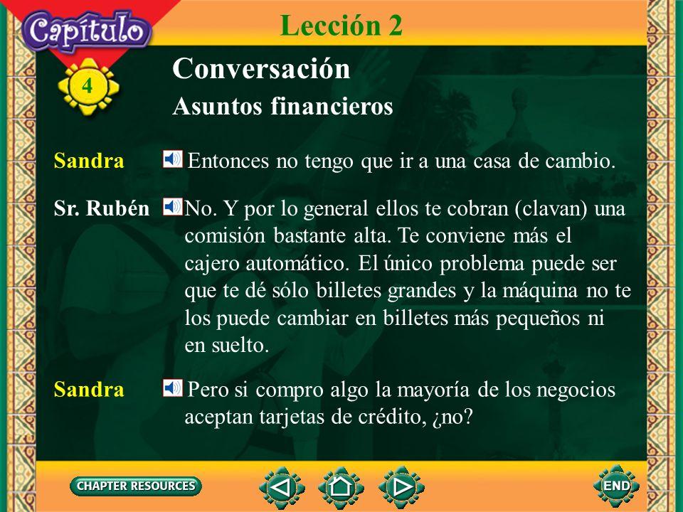 4 Conversación Sandra ¿Me da el dinero en dólares o en la moneda local? Sr. Rubén Pues, en Panamá la moneda es el dólar estadounidense. El balboa es s
