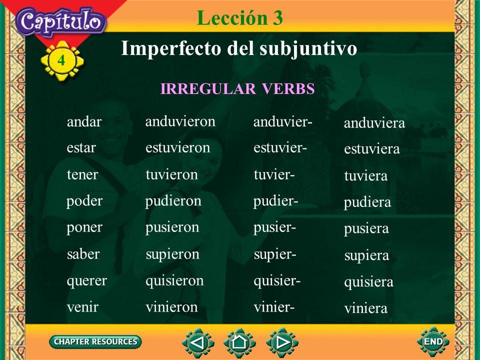 4 2. To this stem, you add the following endings: -a, -as, -a, -amos, -ais, -an. Imperfecto del subjuntivo Lección 3 hablara hablaras hablara habláram