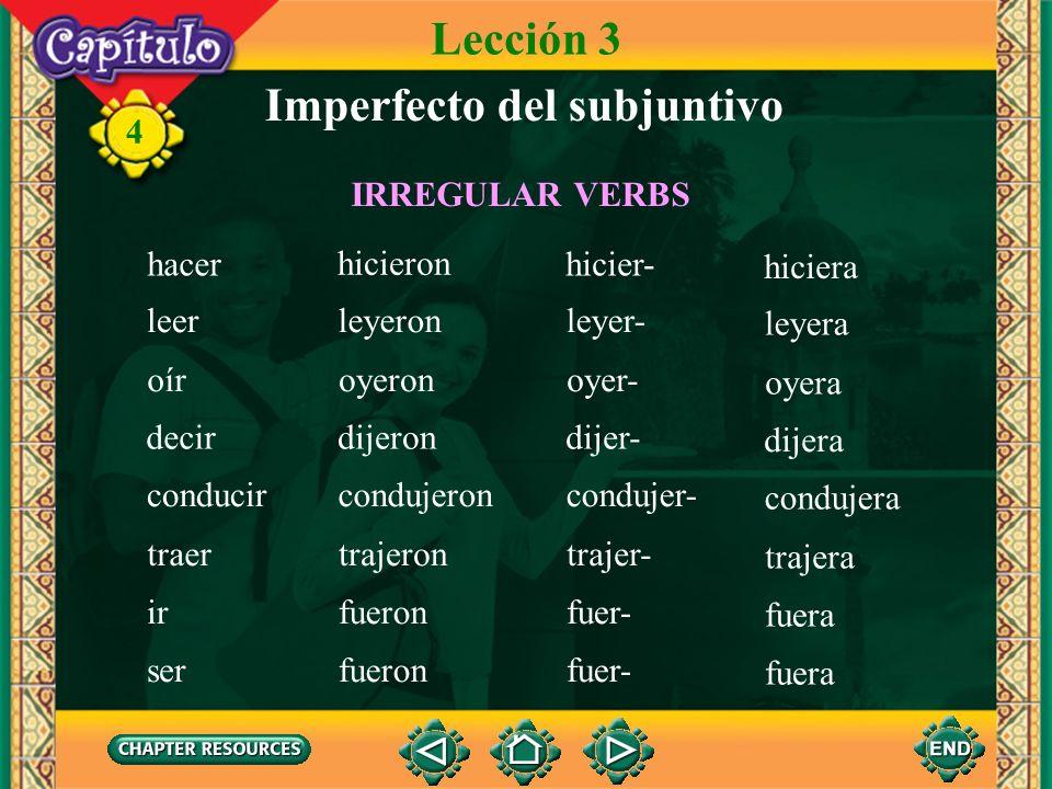 4 Imperfecto del subjuntivo Lección 3 andar estar tener poder poner saber anduvieron estuvieron tuvieron pudieron pusieron supieron anduvier- estuvier