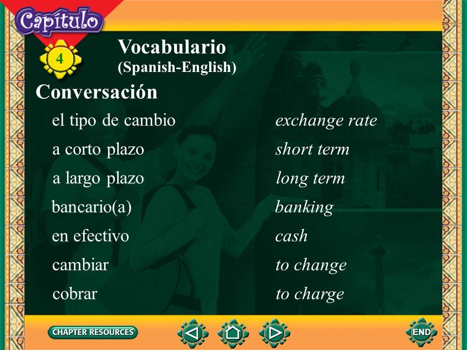 4 Vocabulario el montosum (Spanish-English) la pantallacomputer monitor, screen el pinPIN (personal ID number) el préstamoloan el saldobalance (bank a