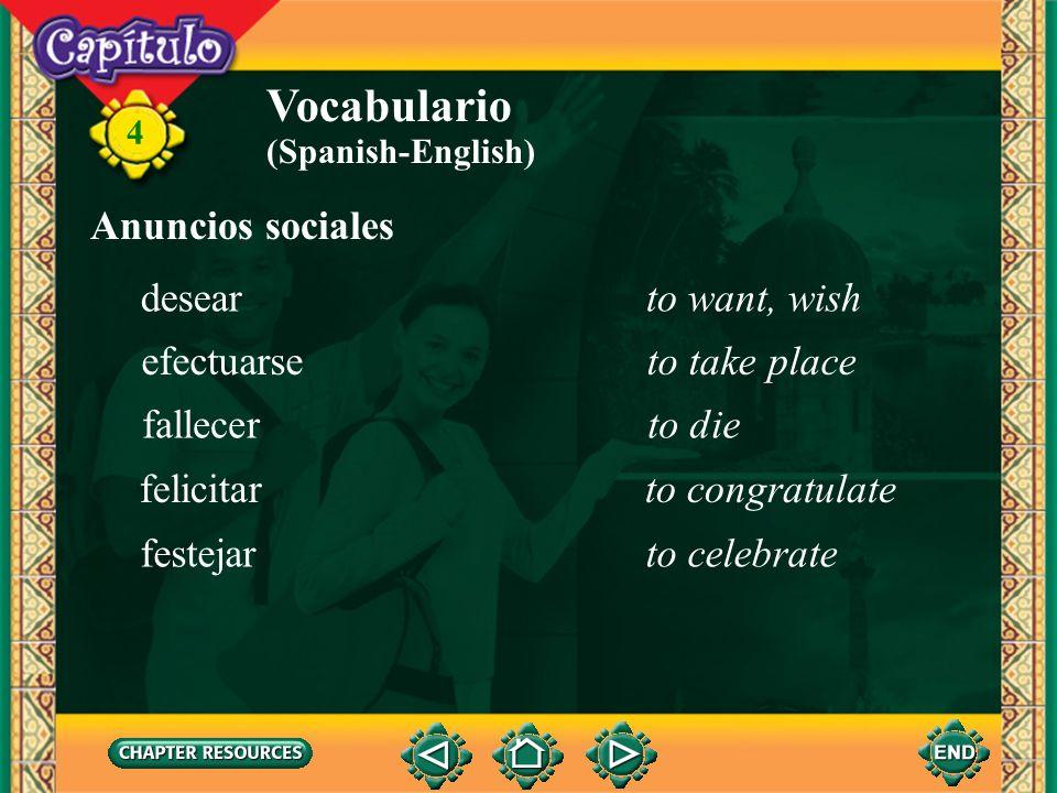 4 Vocabulario la iglesiachurch (Spanish-English) el matrimonio, la bodawedding la parejacouple el veloriowake (of a funeral) parroquialparochial culmi