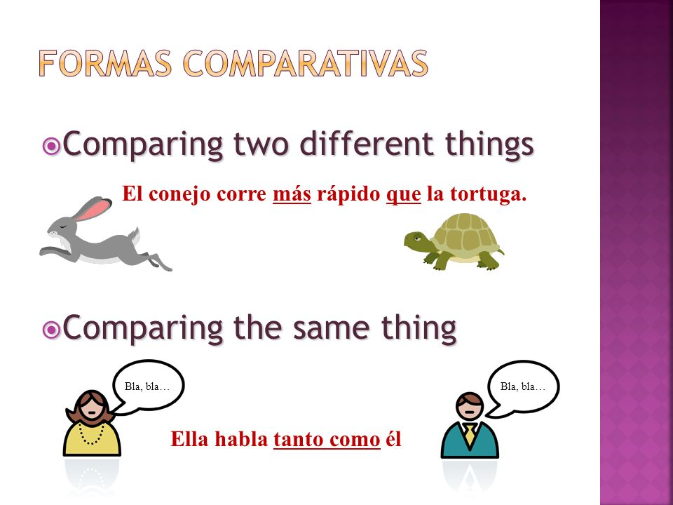 Comparing two different things Comparing two different things El conejo corre más rápido que la tortuga. Comparing the same thing Comparing the same t