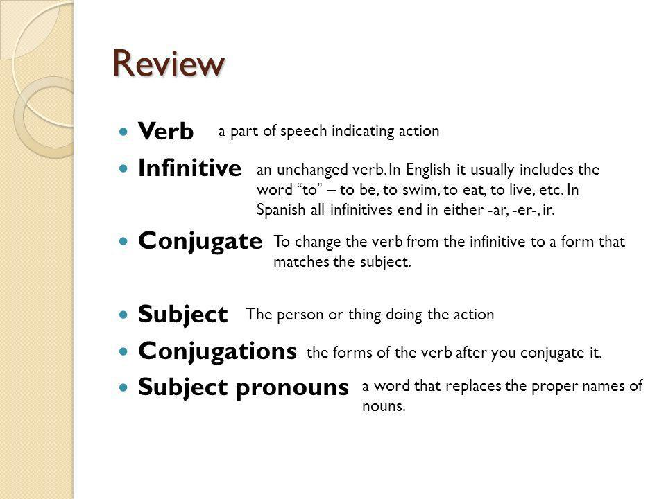Review Verb Infinitive Conjugate Subject Conjugations Subject pronouns a part of speech indicating action an unchanged verb. In English it usually inc