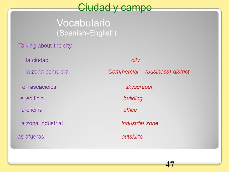 Vocabulario Talking about the city la ciudadcity (Spanish-English) Ciudad y campo la zona comercialCommercial (business) district el rascacielosskyscr