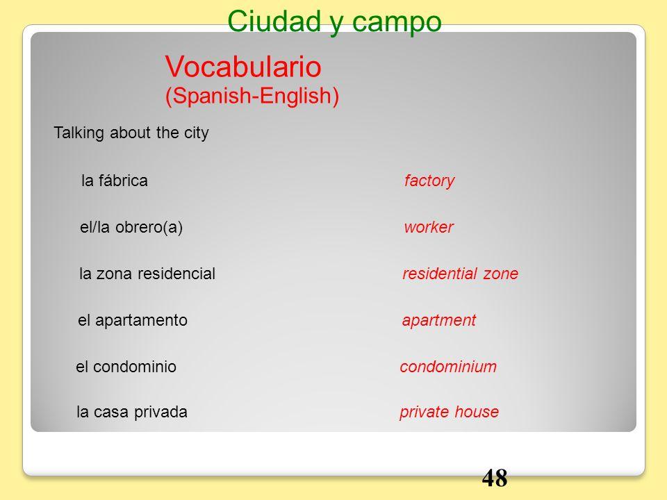 Vocabulario Talking about the city la fábricafactory Ciudad y campo el/la obrero(a)worker la zona residencialresidential zone el apartamentoapartment