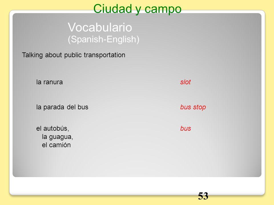 la ranuraslot Talking about public transportation Vocabulario Ciudad y campo la parada del busbus stop el autobús, la guagua, el camión bus (Spanish-E