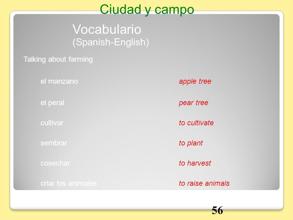 Talking about farming Vocabulario Ciudad y campo el manzanoapple tree el peralpear tree cultivarto cultivate sembrarto plant cosecharto harvest criar