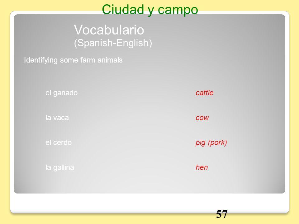 el ganadocattle Identifying some farm animals Vocabulario Ciudad y campo la vacacow el cerdopig (pork) la gallinahen (Spanish-English) 57