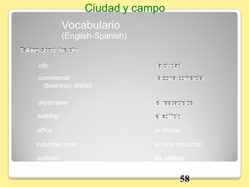 Vocabulario Talking about the city la ciudadcity (English-Spanish) Ciudad y campo la zona comercialcommercial (business) district el rascacielosskyscr