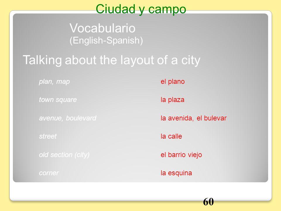 el planoplan, map Talking about the layout of a city Vocabulario Ciudad y campo la plazatown square la avenida, el bulevaravenue, boulevard la callest