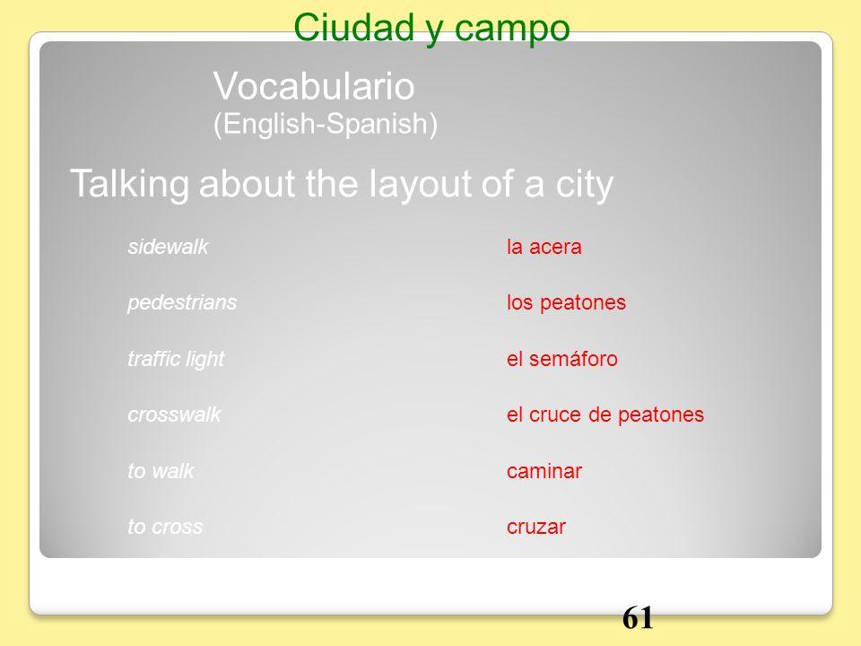 la acerasidewalk Talking about the layout of a city Vocabulario Ciudad y campo los peatonespedestrians el semáforotraffic light el cruce de peatonescr